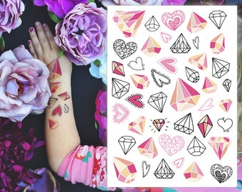a4892a9d2f413 Diamonds and hearts temporary tattoos. She's a gem party favors. 40+  wedding and bachelorette party tattoos. Wedding kids table favors.