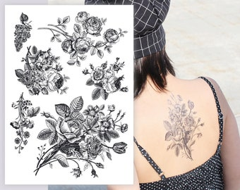 9338e6208 Vintage flowers temporary tattoos. Big set of 6 retro black ink floral  bouquets. Big flower tattoos greeting card. Rustic party favors.