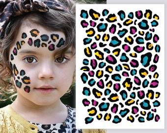 1cd9cba91 Temporary tattoo Leopard print. Big tattoo sheet to create realistic rainbow  cheetah pattern skin effect. Best Jungle birthday party favors.