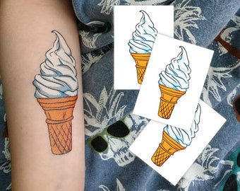 98b17c689 Ice cream party temporary tattoos. Set of 3 soft serve in waffle cone  summer tattoos for your beach party and Ice cream birthday.