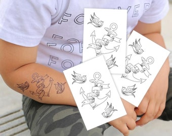 868d652187387 Set of 3 temporary tattoos Anchor and swallows. Classic sailor tattoo  design. Nautic and pirate party favors. Vintage tattoo style.