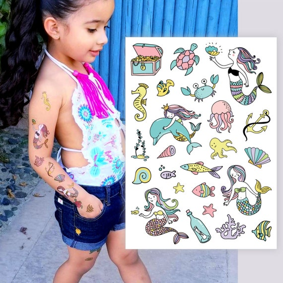 445294df5487c Under the sea birthday party temporary tattoos. Mermaid kids tattoo set  with little mermaid, dolphin, fishes, shells and more sea creations.