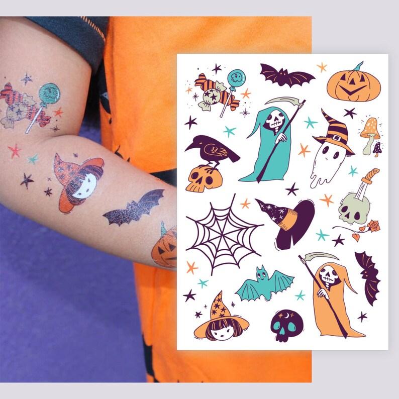 61e7de7da Spooky temporary tattoos set. Ghost witch bat spider web | Etsy