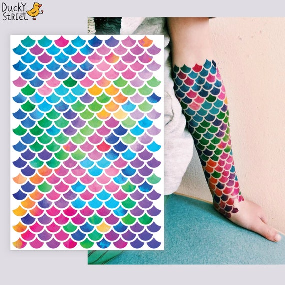 141a72a2d64d8 Mermaid scales big temporary tattoo set 15x21 cm. Body art tattoos to  create a realistic fish scale skin effect. Mermaid party favors.