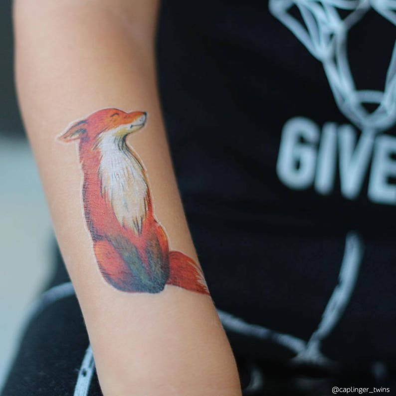 652209288 Fox temporary tattoos. Set of 3 vintage watercolor hand drawn | Etsy