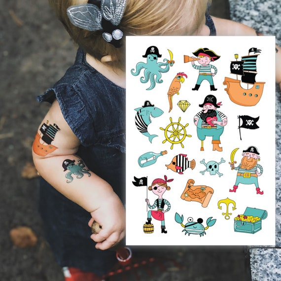 72 x PIRATE Temporary Tattoos Boys Children/'s Party Loot Bag Fillers