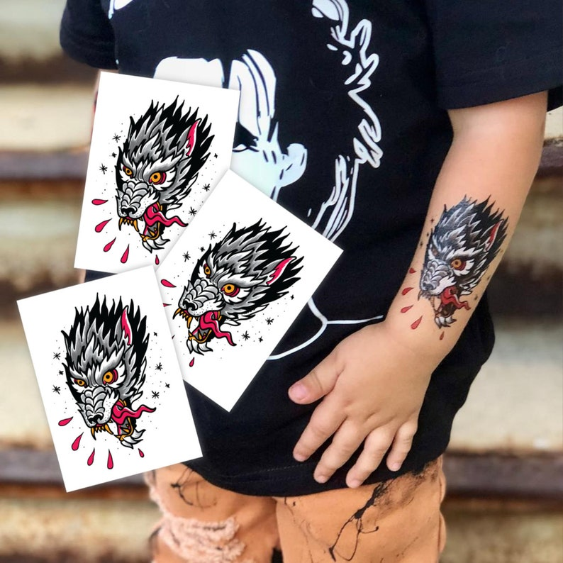 c45d0b613 Set of 3 temporary tattoo Wolf in classic tattoo style. Wild | Etsy