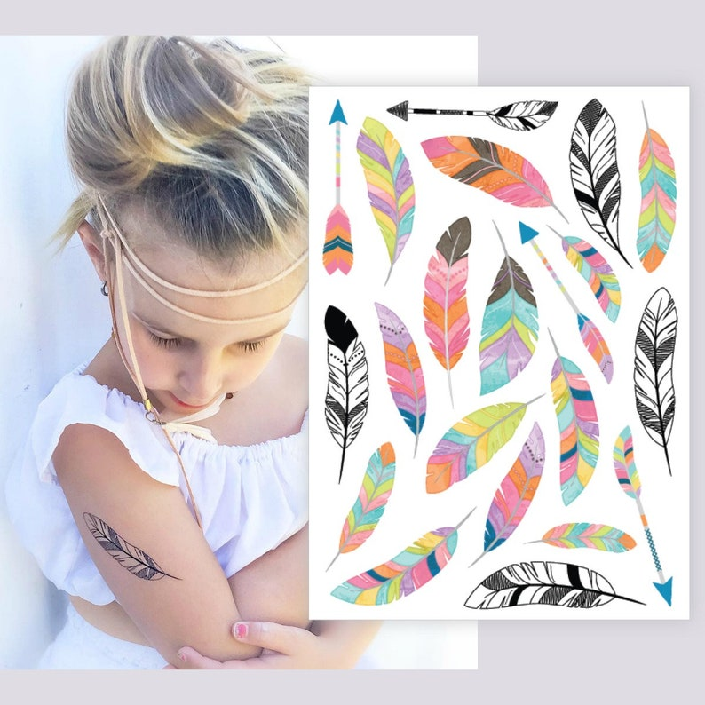 b2b4f6987f590 Temporary tattoos Feathers and Arrows. Bohemian party favors | Etsy