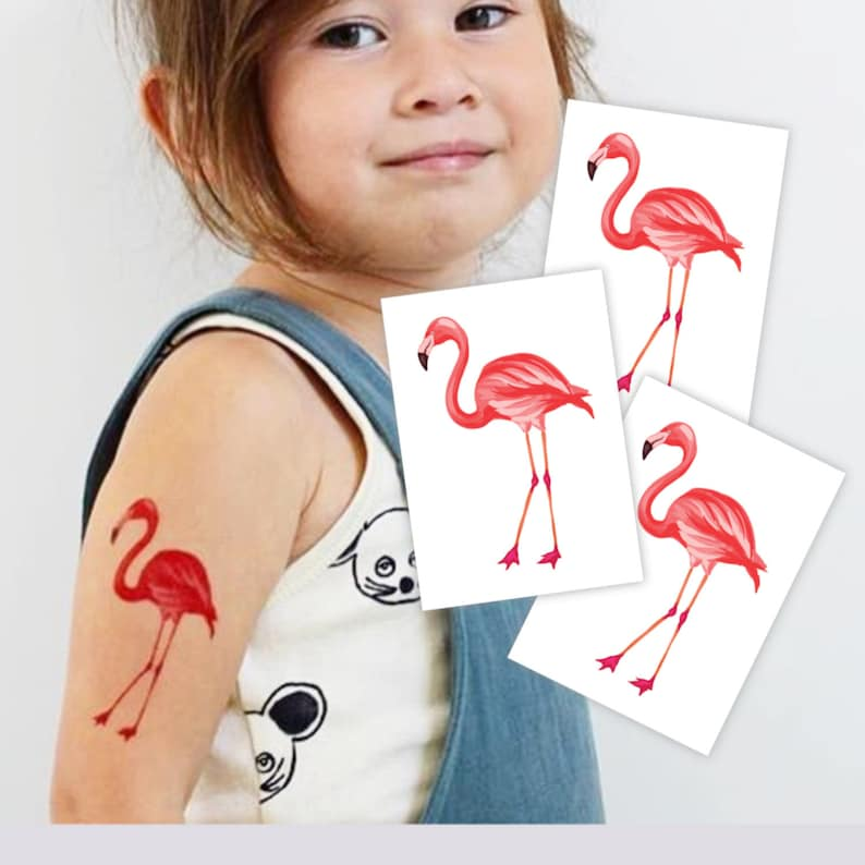 Set of 3 temporary tattoos Pink flamingo. Hawaiian luau party image 0