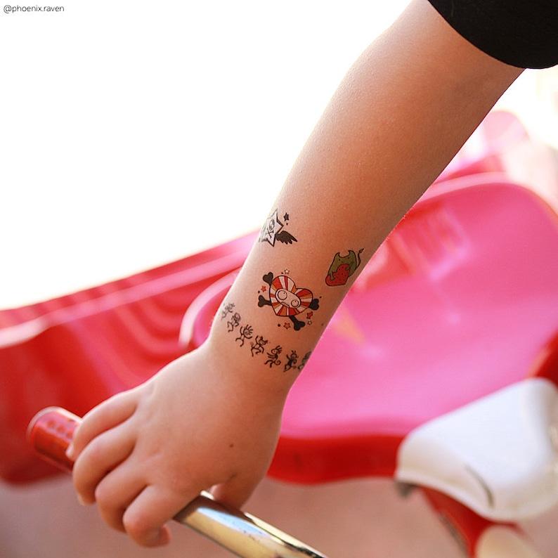 3700622ed Temporary tattoos set Cartoons with funny tiny doodle bear | Etsy