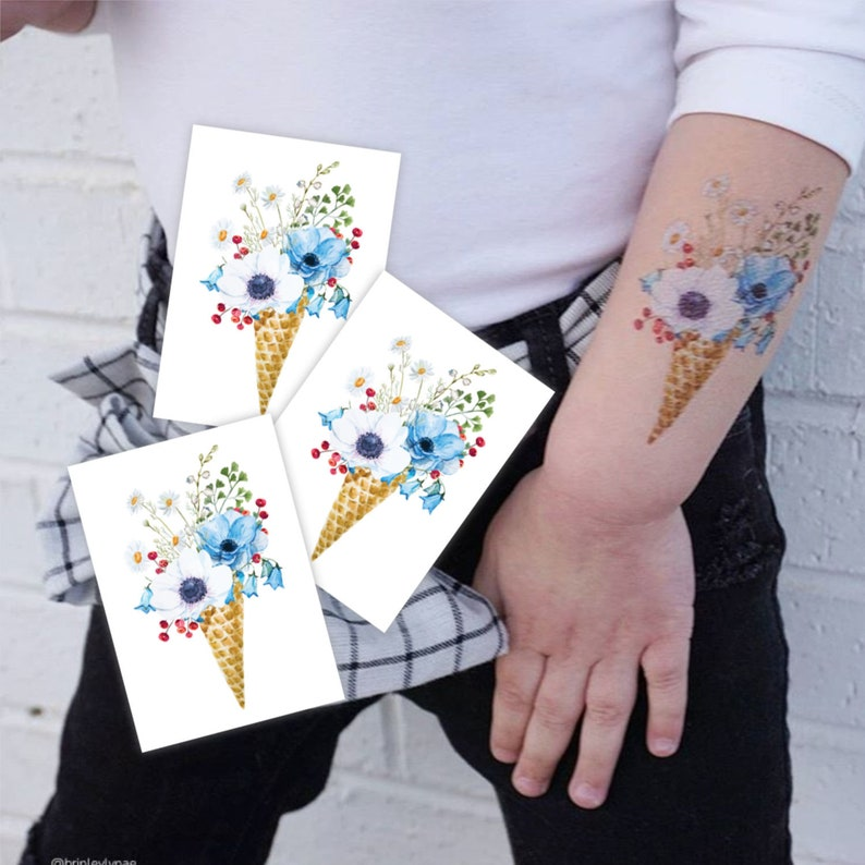 79dfcd50ef636 Boho flowers ice cream tattoos. Set of 3 temporary tattoos | Etsy