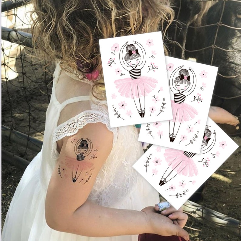 9e7afb315 Temporary tattoos Little ballerina. Set of 3 dancing girl in | Etsy