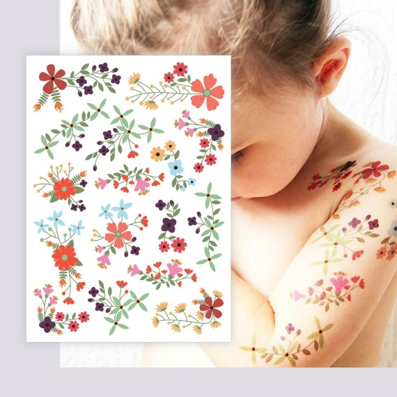 Flower Temporary Tattoos Set Of 13 Floral Bouquets Romantic Wedding