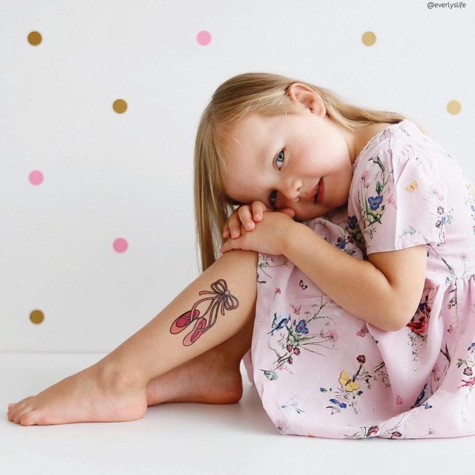 temporary tattoos pointe. set of 3 dancing ballet shoes tattoos. pink pointe kids tattoos, gift for little ballerina. ballet bir