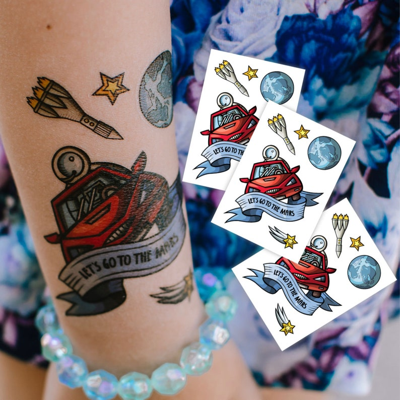 fa884cbc1c12a Set of 3 temporary tattoos Journey to the mars with Tesla car | Etsy