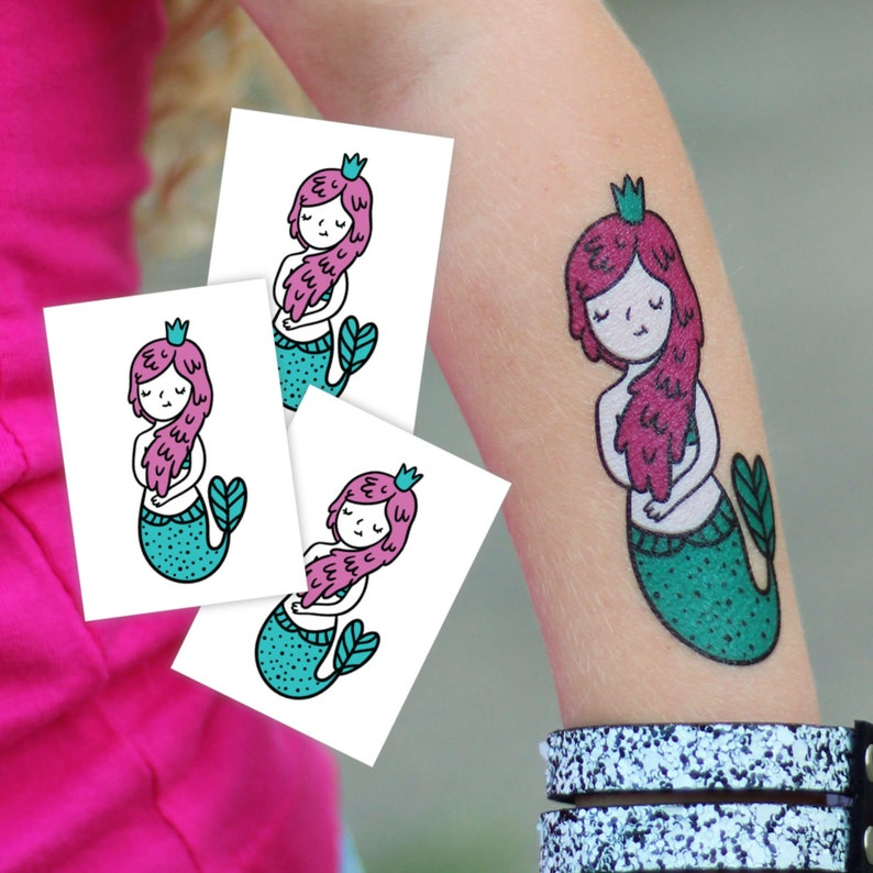 ca17ce7d1e042 Little mermaid party temporary tattoos. Set of 3 kids tattoos | Etsy
