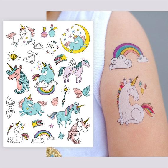 42d07d7cc Temporary tattoos Unicorns. Big tattoo set of 9 magic   Etsy