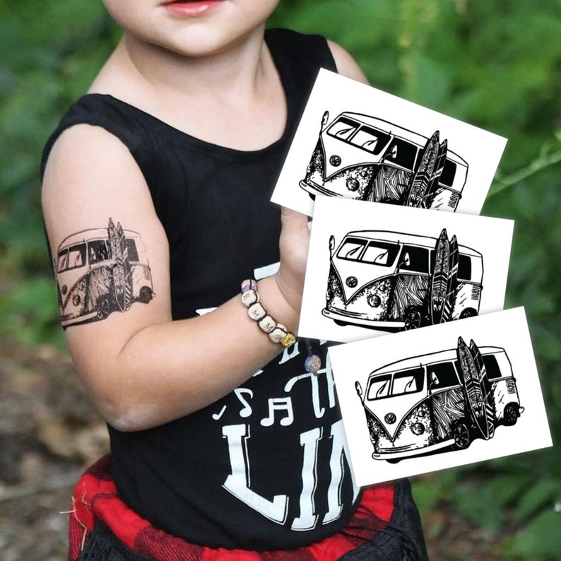 20a22ada9 Set of 3 temporary tattoo Hippie bus. Black and white tattoos | Etsy