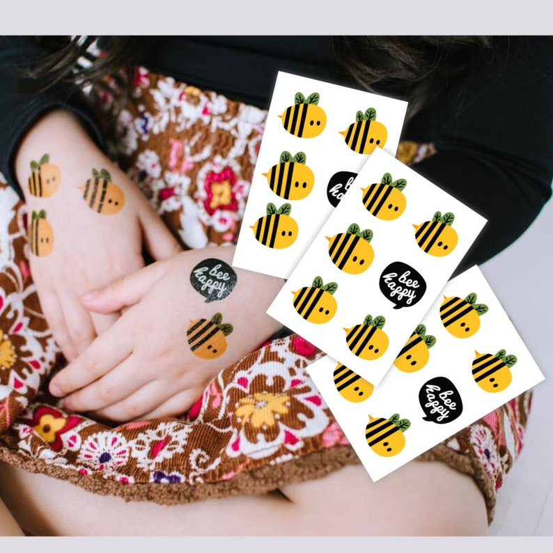 Bee day party kids tattoos. Set of 3 sheets with 18 temporary image 0