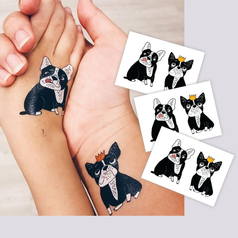 Bulldogs temporary tattoos. Set of 3 tattoos with 2 dogs each. | Etsy