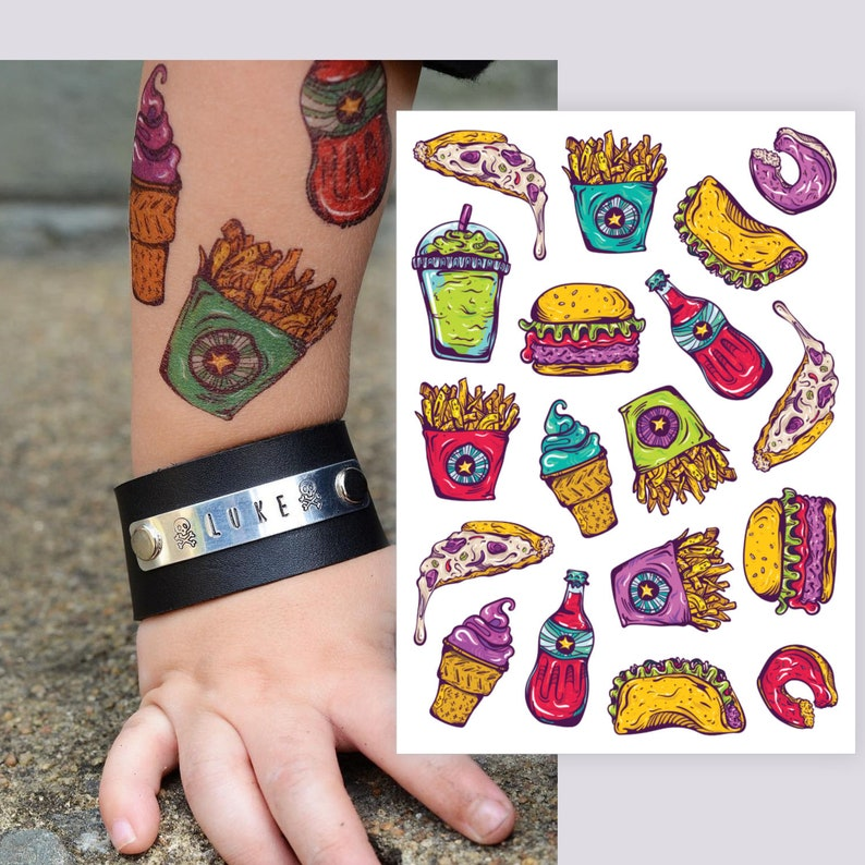 a88147dc9 Fastfood temporary tattoos: smoothie pizza french fries | Etsy