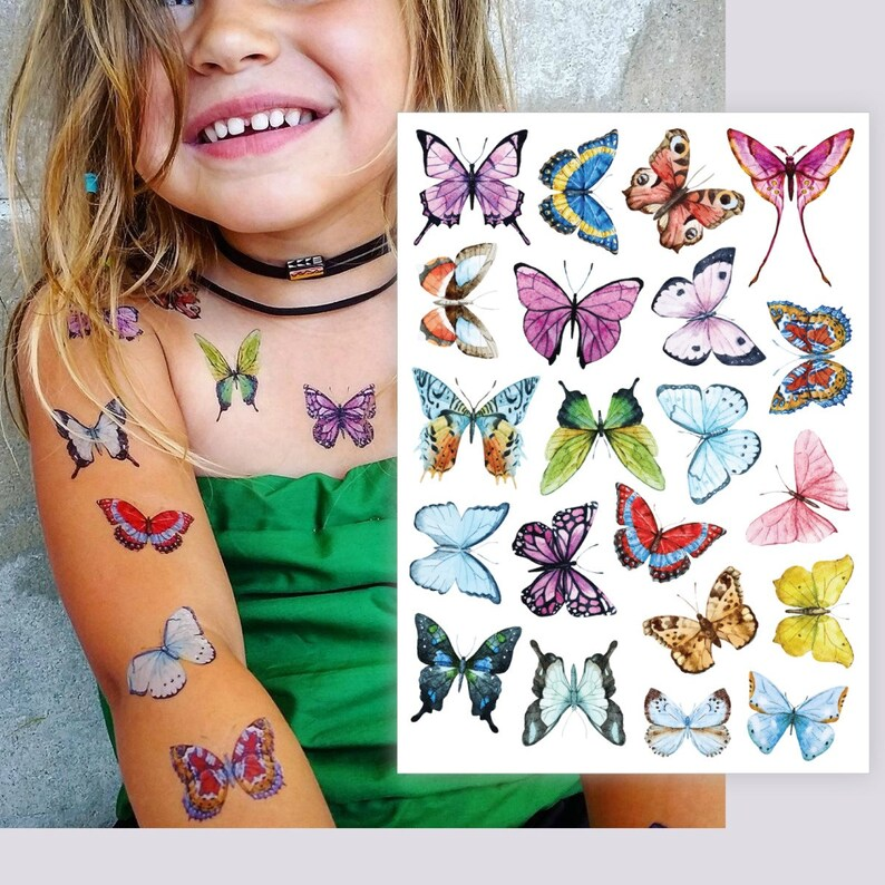 28680b44b Temporary tattoos Butterflies. Big set of 21 watercolor | Etsy