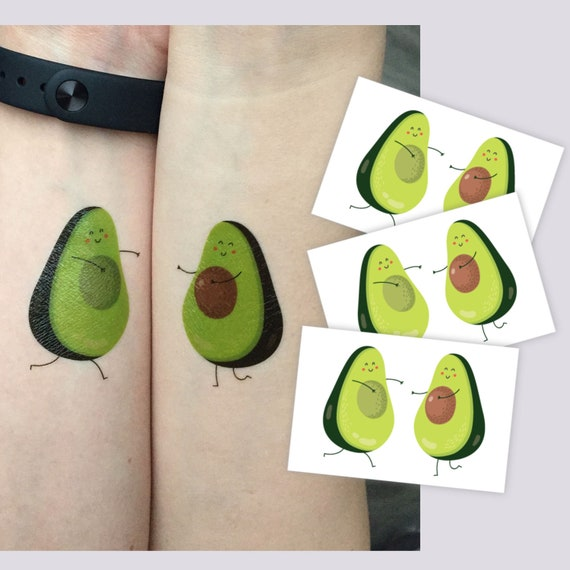 Avocado Temporary Tattoos Set Of 3 Pairs You Are My Other Half Of