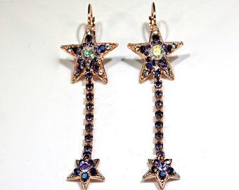 Star Purple Swarovski Crystal drop earrings