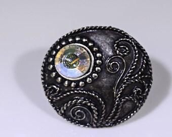 Blackened Silver Adjustable Ring with Swarovski Crystal