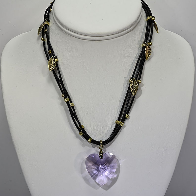 Lilac Swarovski Heart Pendent with Black leather and Gold image 0