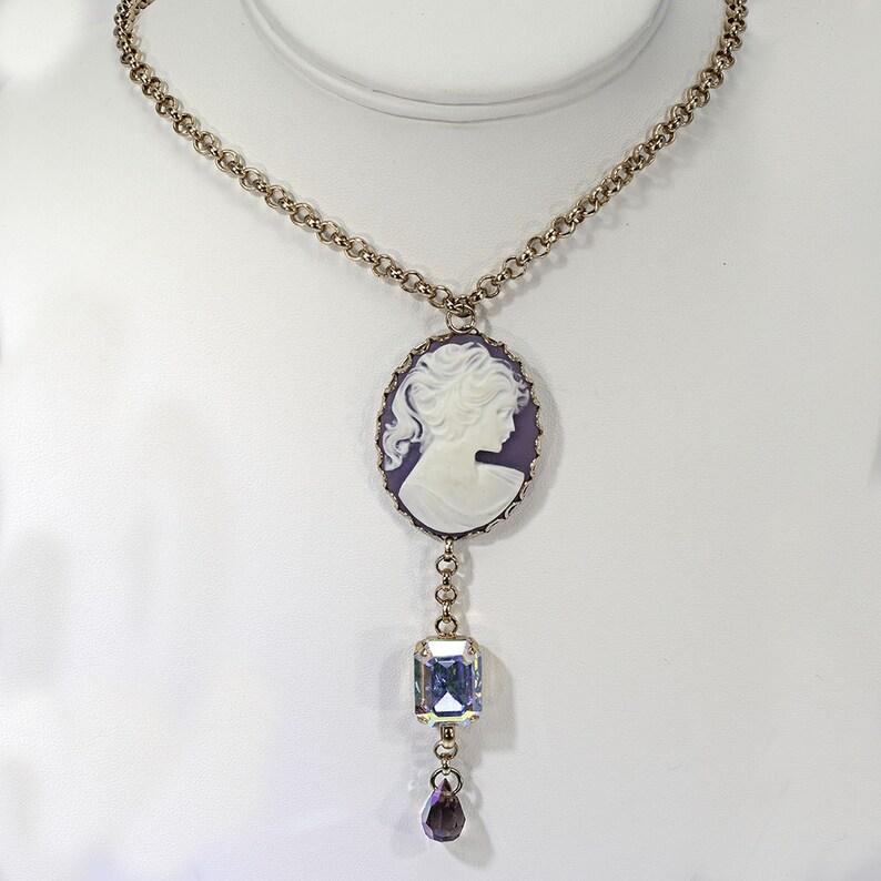 Purple Cameo with Swarovski Crystals image 0