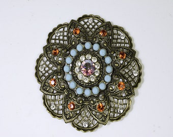 Lacy Antique Brass Brooch with Turquoise and Orange Swarovski Crystals