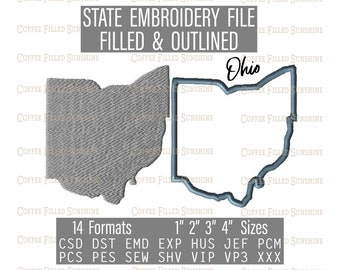Instant Download OH State Outline 8 Sizes Embroidery Pattern 14 Formats Embroidery File OHIO State Embroidery