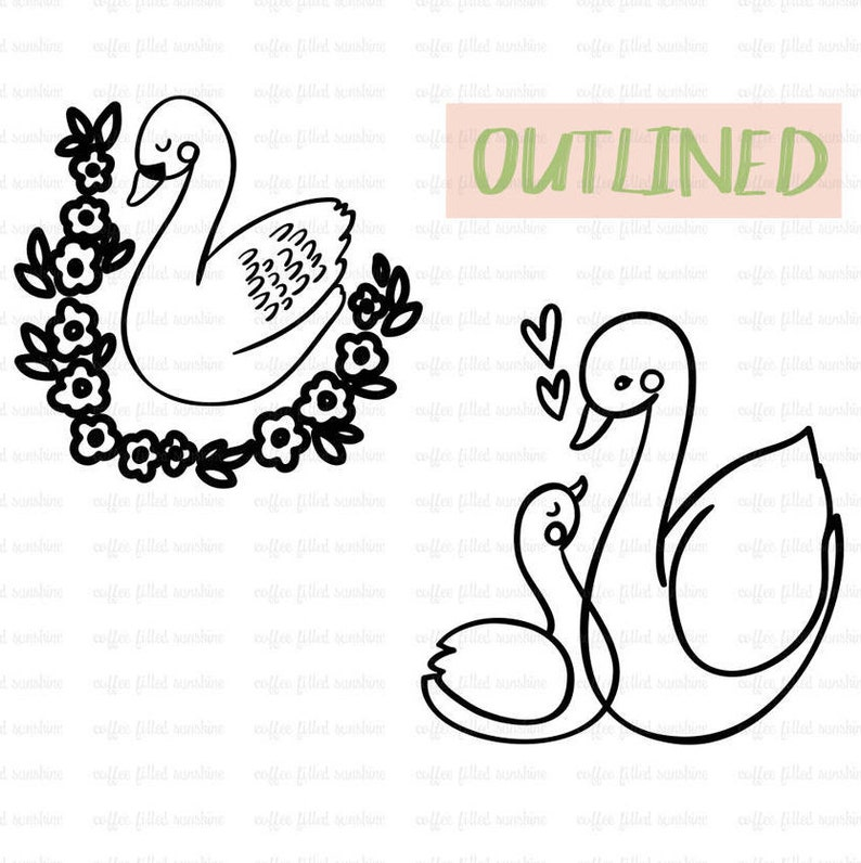 Baby Swan Mommy and Me Animals dxf eps jpg png svg formats Mama Swan Instant Download SWAN Digital Clip Art Momma and Baby
