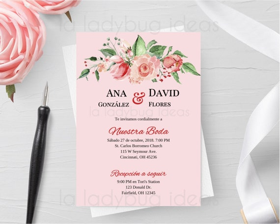 Invitaciones De Boda En Espanol Para Editar Imprimir Invitación Floral Español Archivo Digital Printable Wedding Invitation Spanish