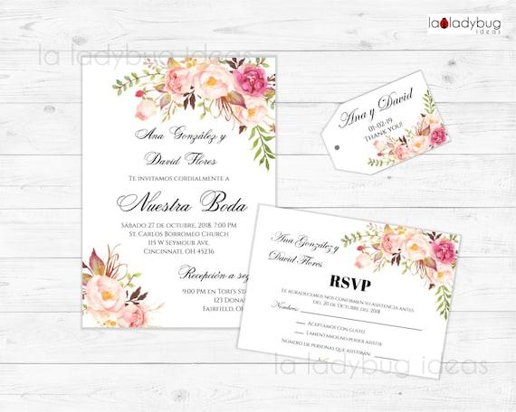 Invitacion Floral Invitaciones De Boda Para Editar Imprimir Kit De Invitación Boda Floral En Español Rsvp Tags Wedding Invitation Spanish
