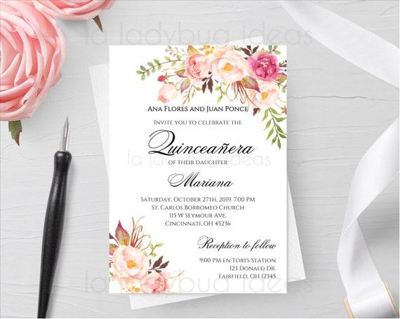 Quinceanera Invitations Invitaciones Quinceanera Para Editarimprimir En Inglés Invitación Quinceañera 15th Birthday Party Invitation