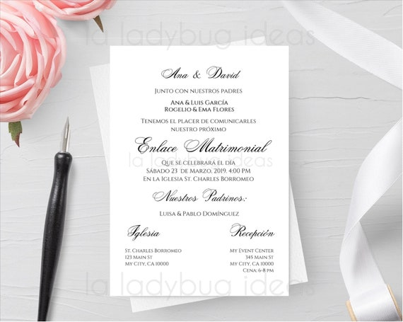 Invitacion Boda Para Editar Imprimir Invitaciones De Boda Digital Printable Wedding Invitation Spanish