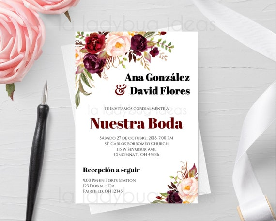 Invitaciones De Boda Para Editar Imprimir Editable Invitation Color Tinto Invitación Boda En Español Digital Wedding Invitation Spanish
