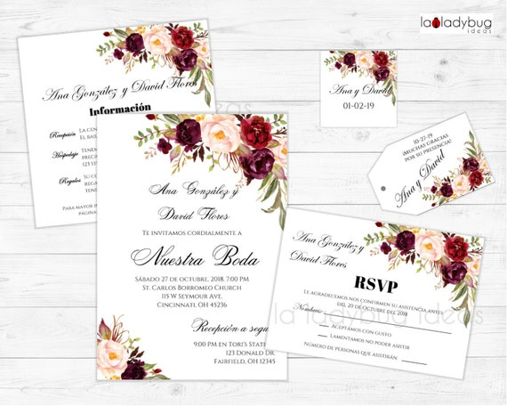 Invitaciones De Boda Para Editar Imprimir Kit De Invitación Boda Floral En Español Rsvp Recepcion Cards Tags Wedding Invitation Spanish