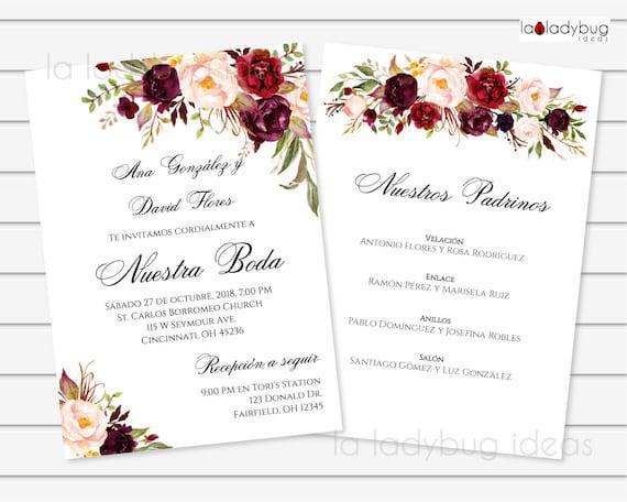Invitacion Boda Para Editar Imprimir Color Tinto Con Lista De Padrinos Invitaciones De Boda Español Printable Wedding Invitation Spanish