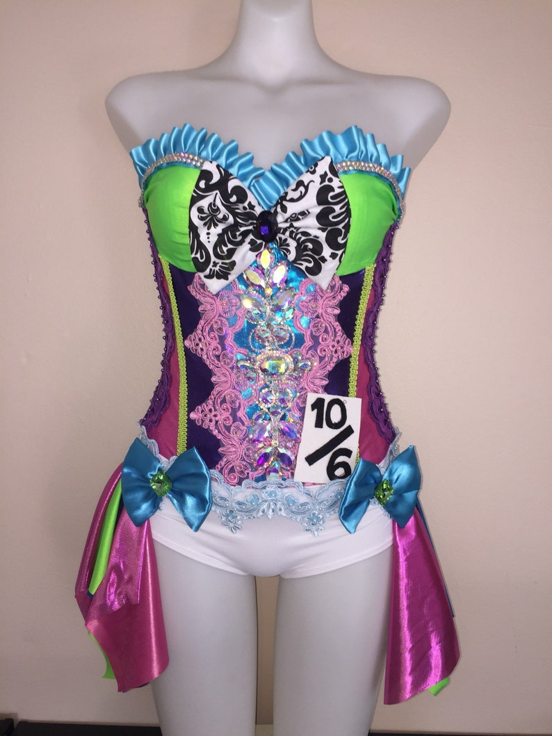 066ad58469 CUSTOM SIZE Mad Hatter corset costume EDC rave bra top