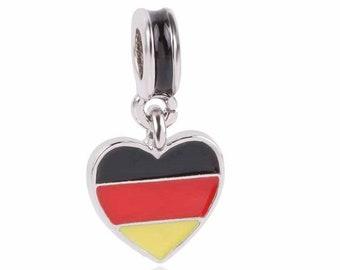 dd70f4658 1 Germany German Heart Flag Silver Charms Beads for European Charm Bracelets  - 2B