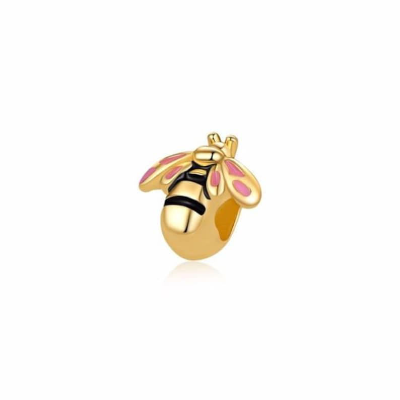 Bumblebee Bee Black White Rhinestone Gold Plated Dangle Charm for Euro Bracelets