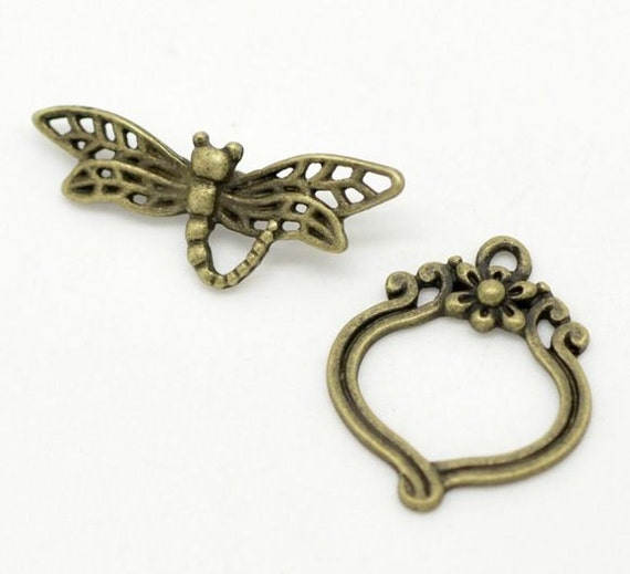 5 Sets 10pcs-Dragonfly OT toggle-Antique brass  toggle,necklace toggle clasp