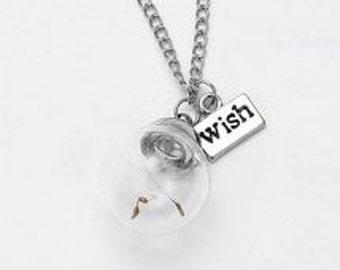 Dandelion Seed Fluff Make A Wish Necklace Pendant -39P