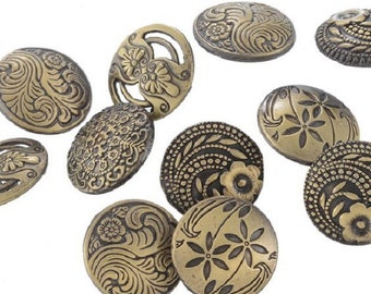 10 Flower Design Bronze Tone Metal Buttons 17mm for Scrapbooks, Sewing, Crafts - 51B