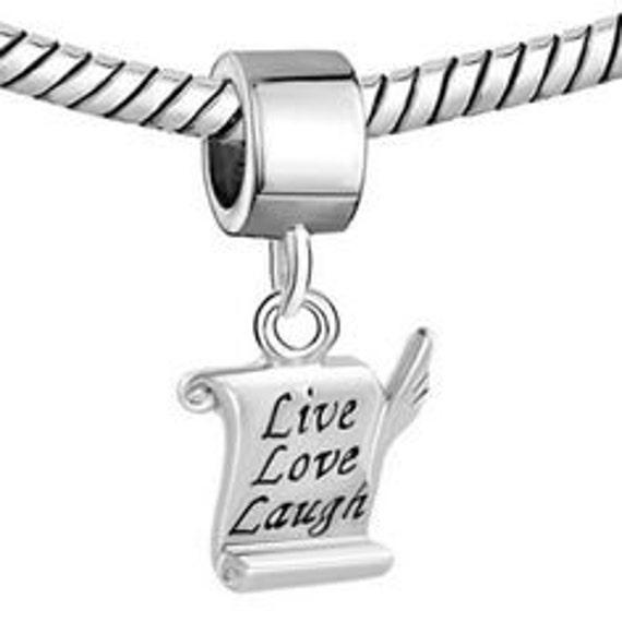 Love Laugh European Charm Bead Large Hole Bead Fits European Bracelets Live