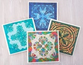 Quilt Coasters Magnets Quilt Pattern Tile Coasters Colorful Quilt Gift for Quilter Sewing Room Decor Present for Mom Gift for Her Gift Sewer