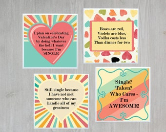 Funny Valentine's Day Gift for Single Girl Single Lady Present Single on Valentine's Day Gift for Friend Single Friend Gift - 4 Coaster Set